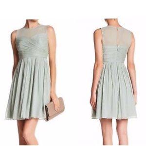 J.CREW Clara Dusty Shale Green Chiffon Dress Sz 2P